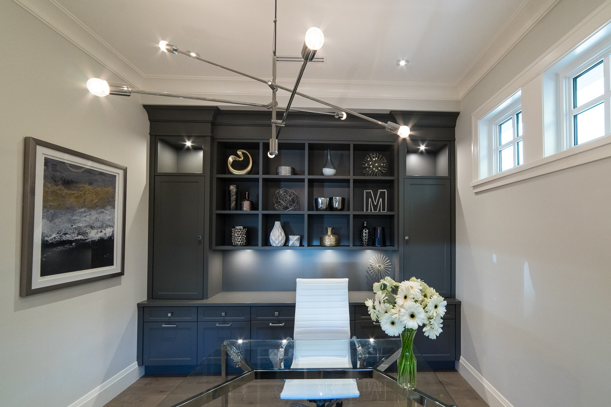 charcoal grey cabinetry office