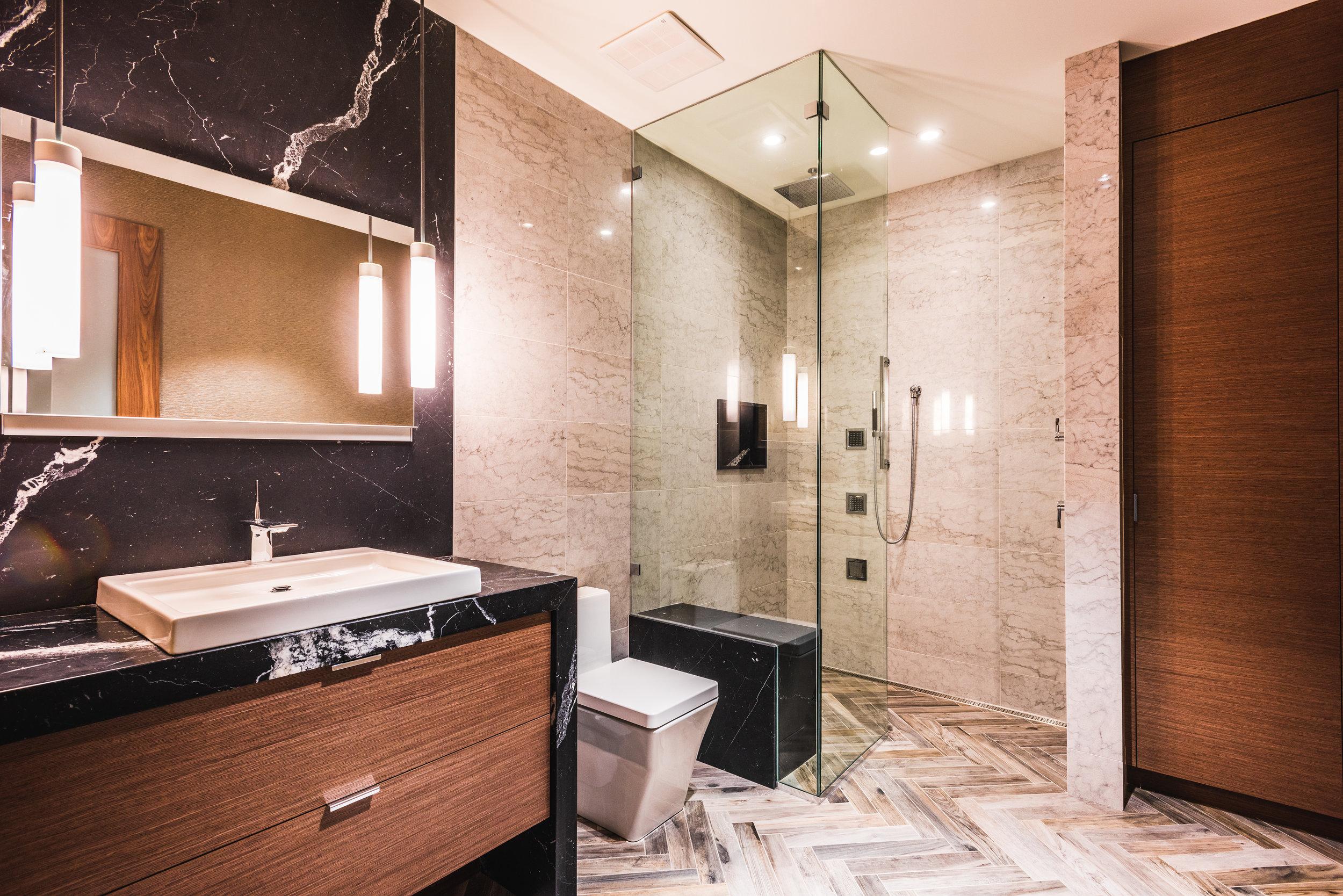 black marble slab washroom