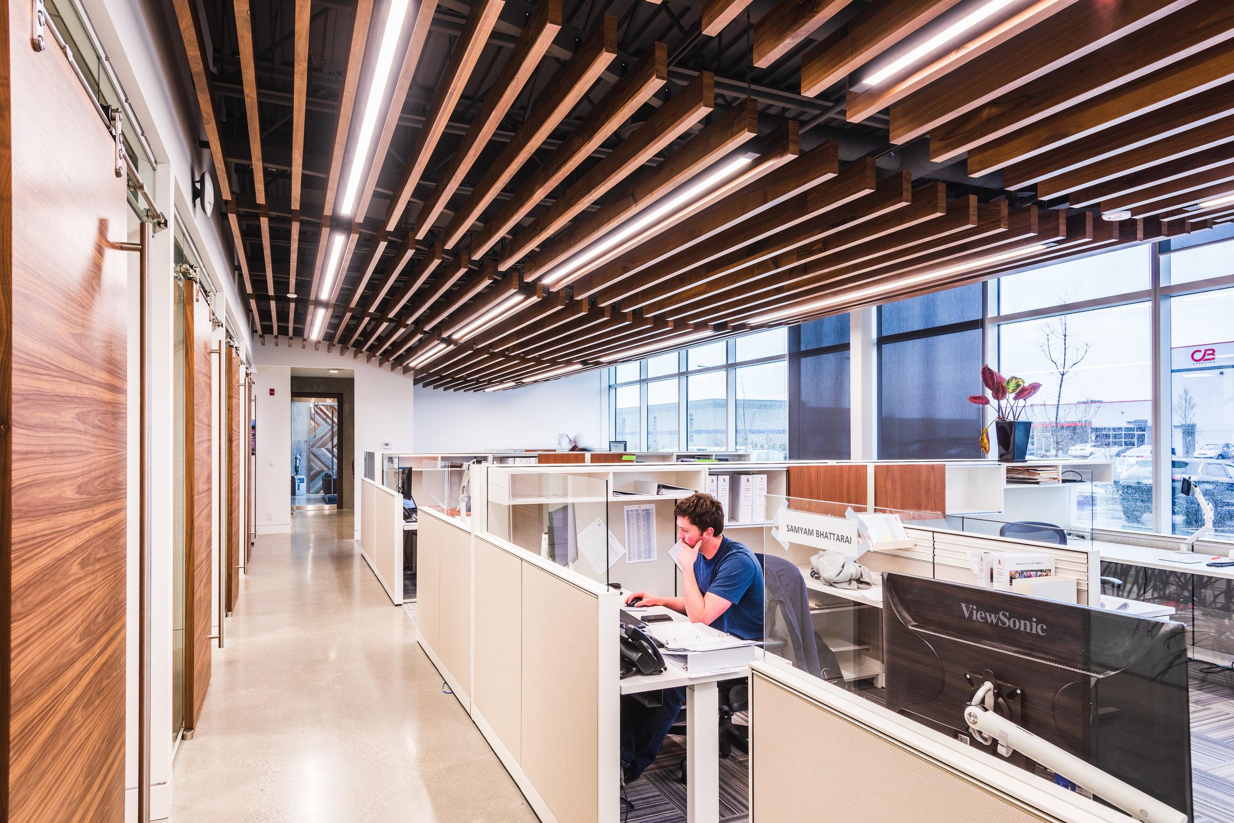 wood slat ceiling office
