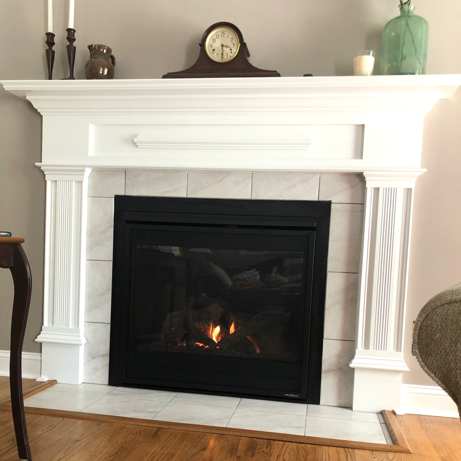 Fireplace tile installed