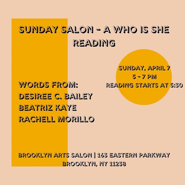 ✨Join #whoissshe📧 on April 7 for the next Sunday Salon! Featuring words from @desireecarla @beatrizk & @negraanegra 📝 ~ Many thanks to Brooklyn Arts Salon for hosting us—please visit the link in our bio to RSVP! . . . . #wisnewsletter #wisrecommends #ladiesinyourinbox #newsletter #email #subscribe #tellyourstory #creative #art #helloapril #sundaysalon #womenwriters #readingseries #herecomesspring #poetry #fiction #shortstories #brooklyn #brooklynartssalon #nycreadings #nycevents