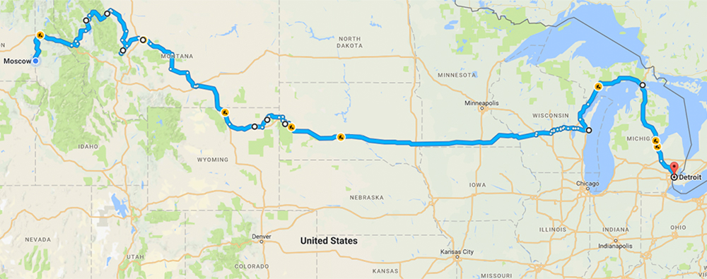 The route of our first leg through Wisconsin to Michigan.