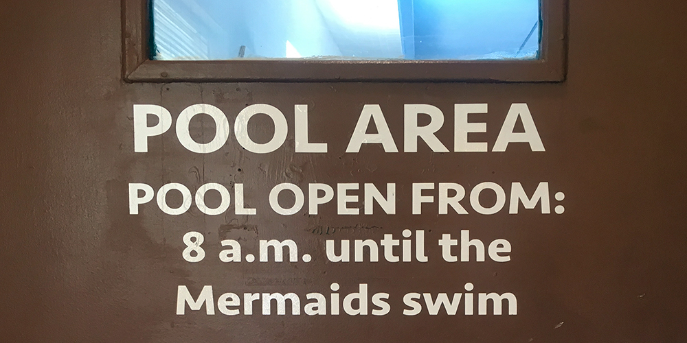 The door to the motel pool.