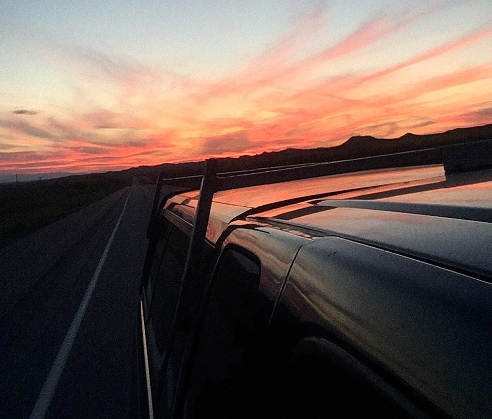 The setting sun as we cruised through Wyoming.