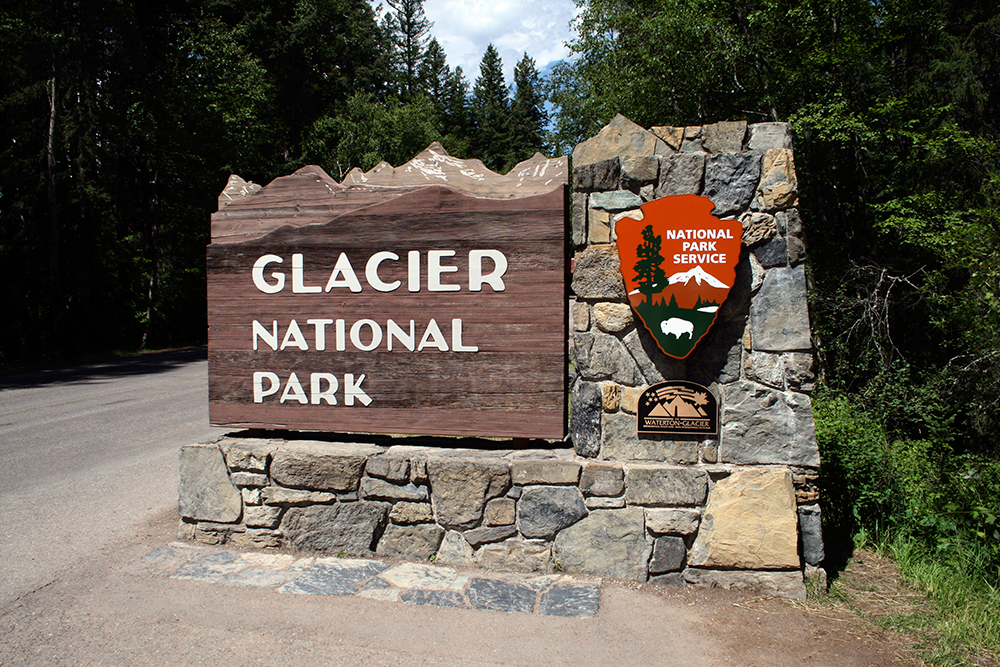 The iconic signage at the western entrance to Glacier.