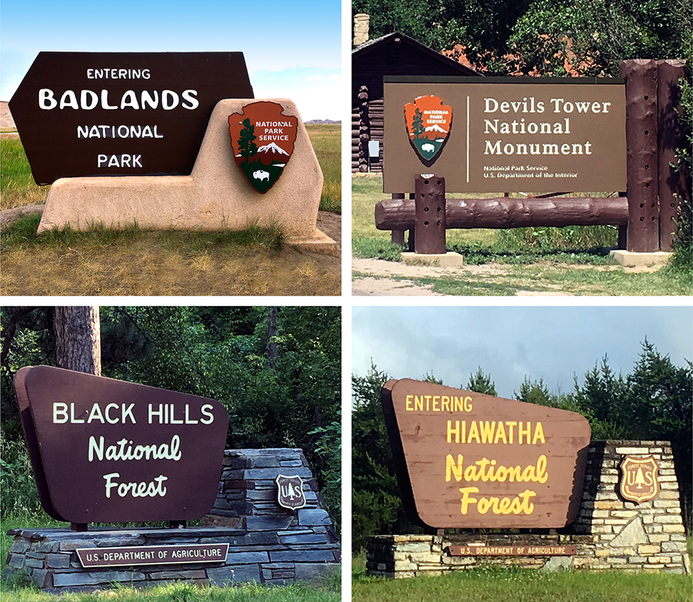 National Park / National Monument / National Forest signage from this trip.