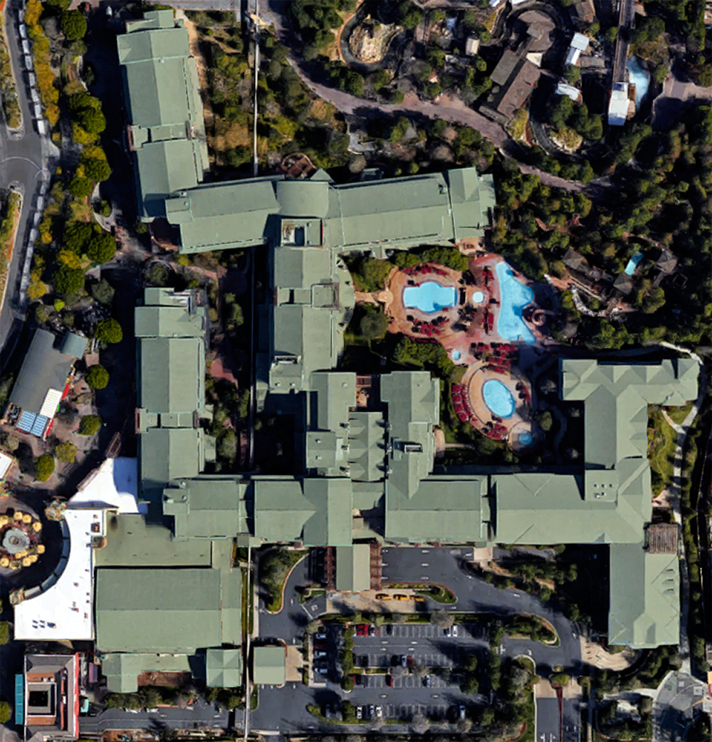 Grand Californian, satellite view. Click for Google Map link.