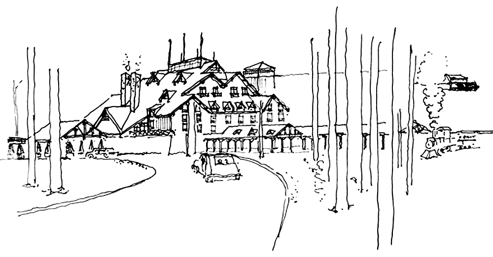 Early concept sketch for the Wilderness Lodge. Ⓒ Urban Design Group, Inc.