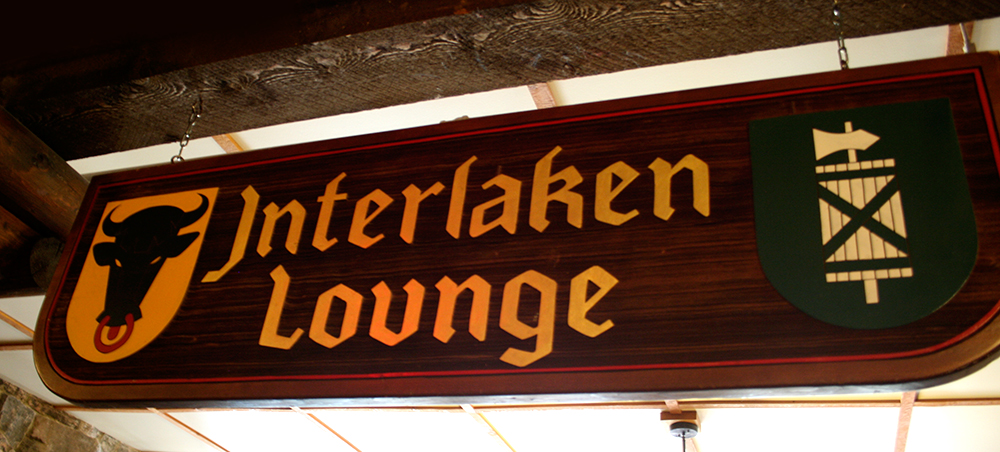 Germanic blackletter on interior signage.