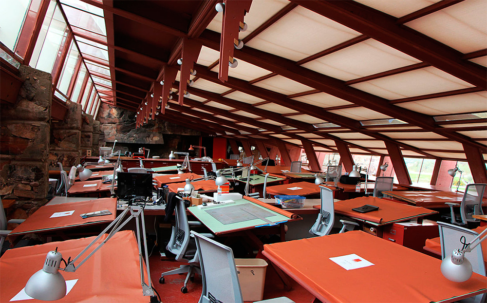 Drafting room at Taliesin West. Wikimedia Commons.