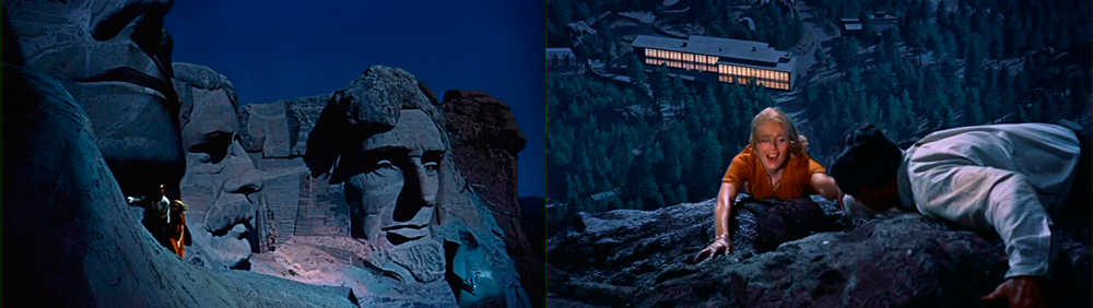 The final sequence on the monument's presidential faces was achieved using a combination of sets, models, matte paintings, and rear projection.