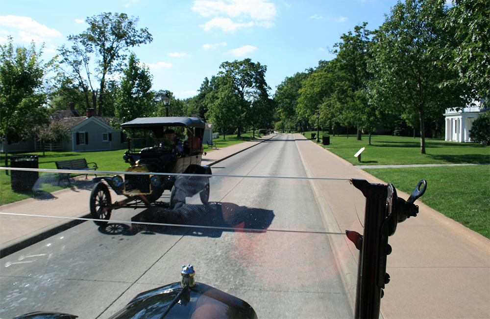 Riding in a restored Ford Model T.