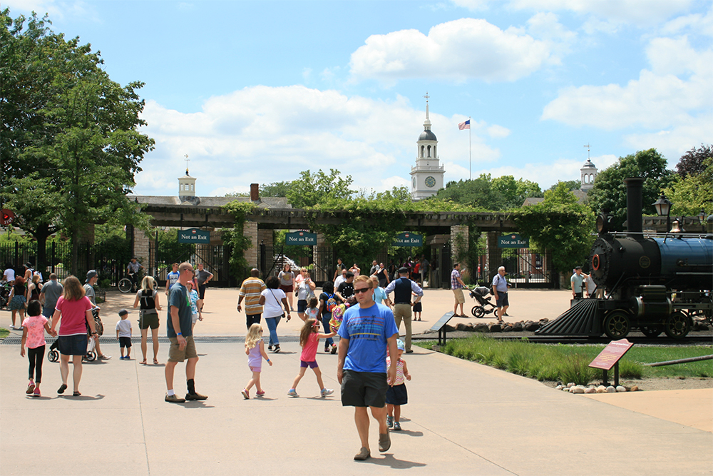 Looking back at the park's entry gates.