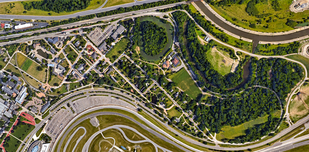 Greenfield Village, satellite view. Click for Google Map link.