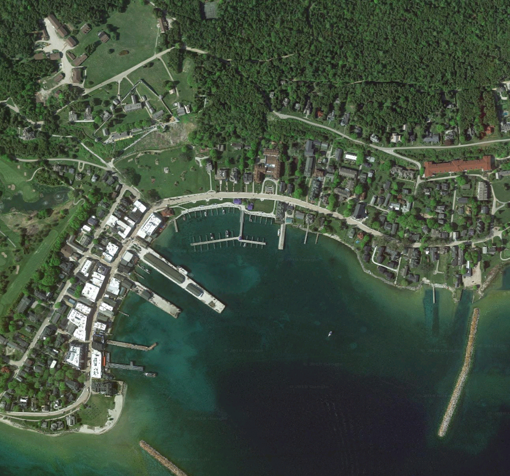 Mackinac Island, satellite view. Click for Google Map link.