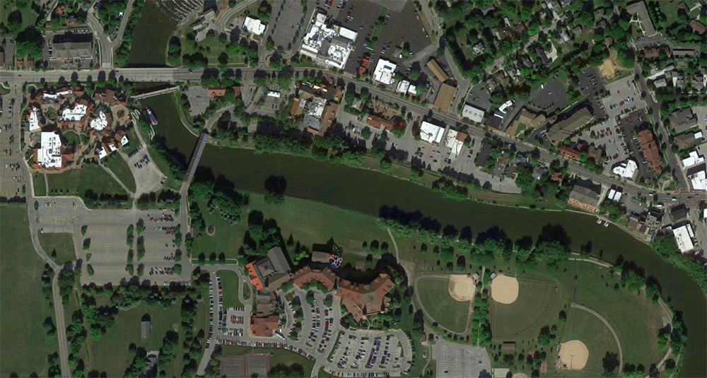 Frankenmuth, Michigan, satellite view. Click for Google Map link.