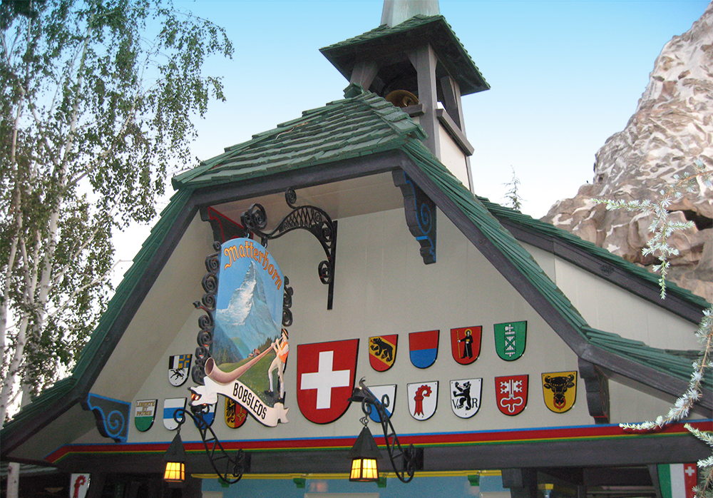 "The ""Alpine Village"" look of the  Matterhorn Bobsleds  at Disneyland, 2008."