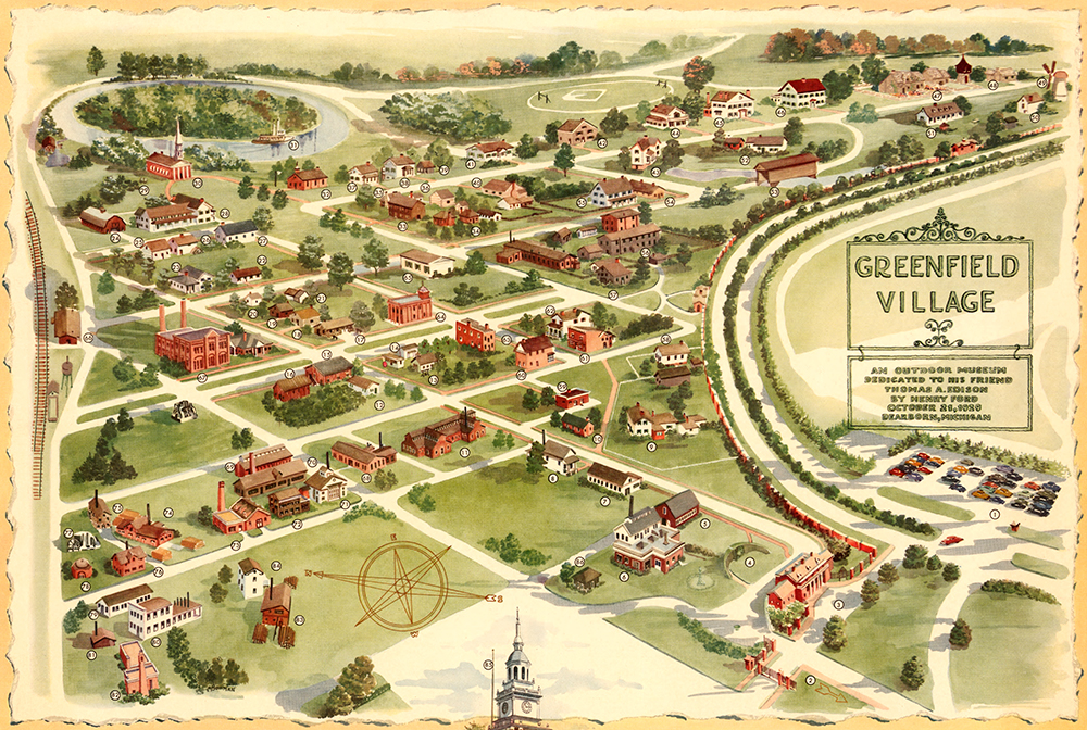 Souvenir map of the Greenfield Village property, 1951.  The David Rumsey Map Collection .