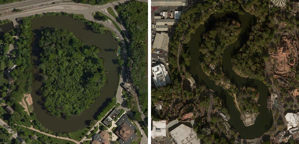 Left:  Suwanee Lagoon , Greenfield Village. Right:  Rivers of America , Disneyland.