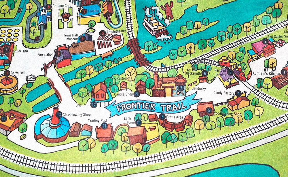 Cedar Point park map showing  Fronter Trail , 1974.