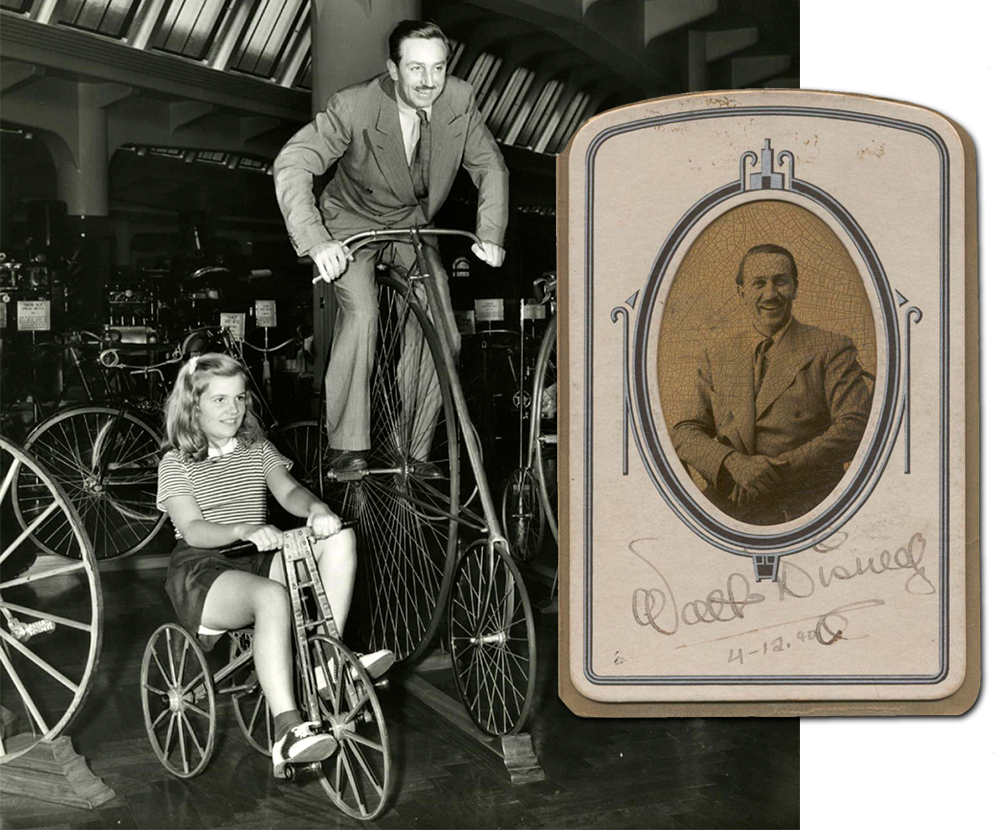 Walt Disney with his daughter Diane at The Henry Ford museum on April 12, 1940. Ⓒ Disney Enterprises, Inc.