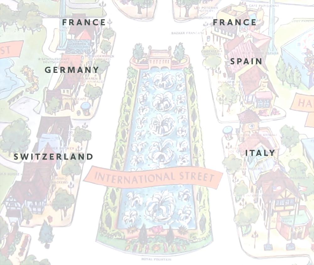 International Street area on Kings Island 1972 souvenir park map poster.
