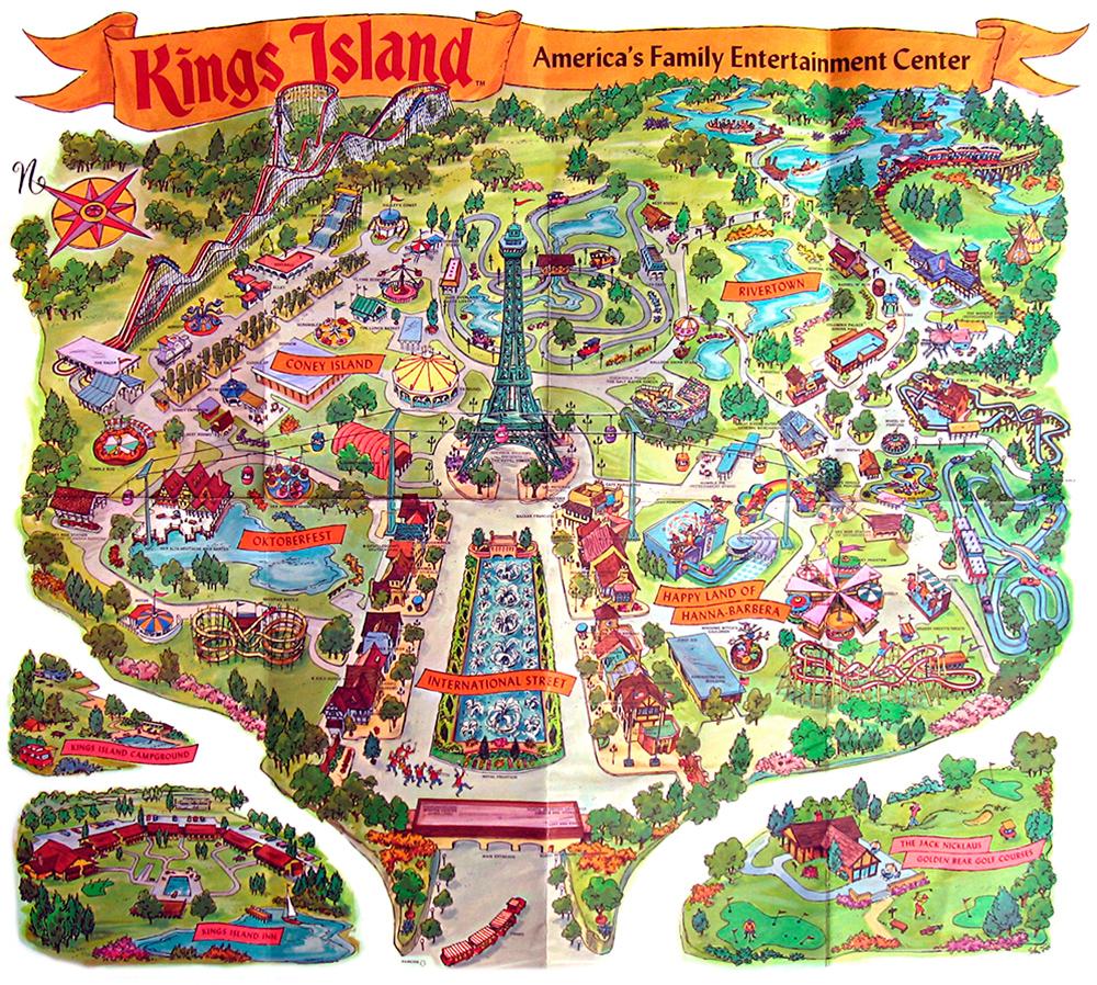 Kings Island 1972 souvenir park map poster.