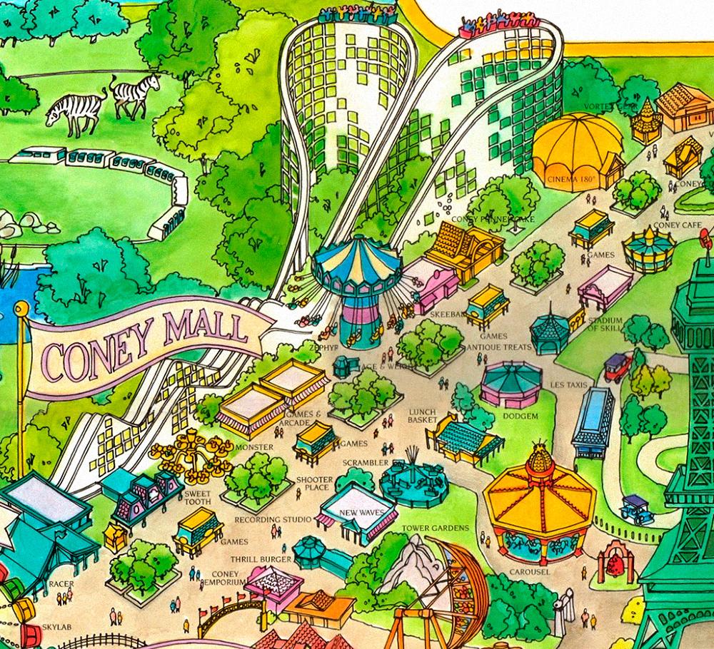 Coney Island area on Kings Island 1989 souvenir park map poster.