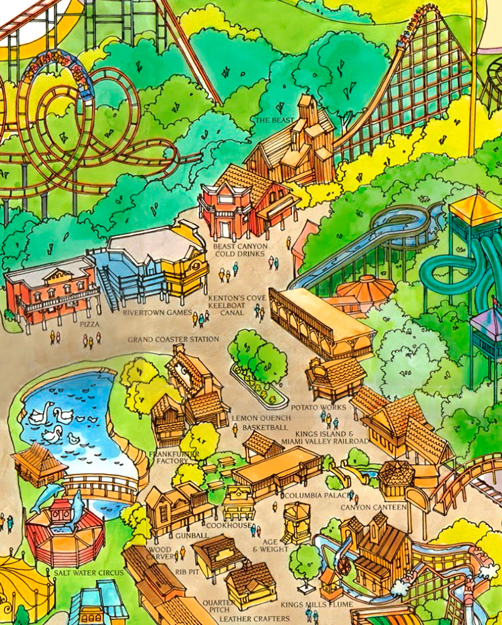 Rivertown area on Kings Island 1989 souvenir park map poster.