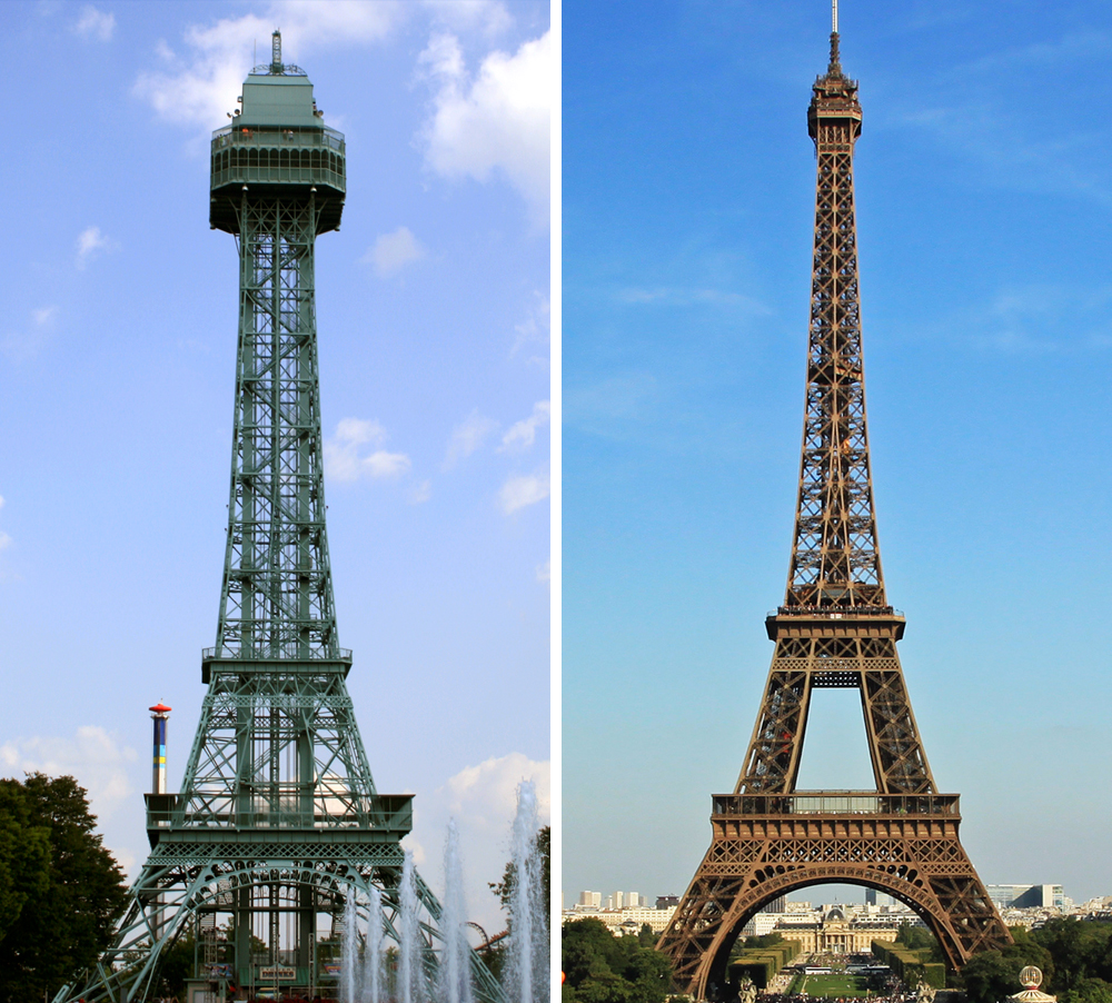 The Kings Island version compared with the Paris original.  Wikimedia Commons .