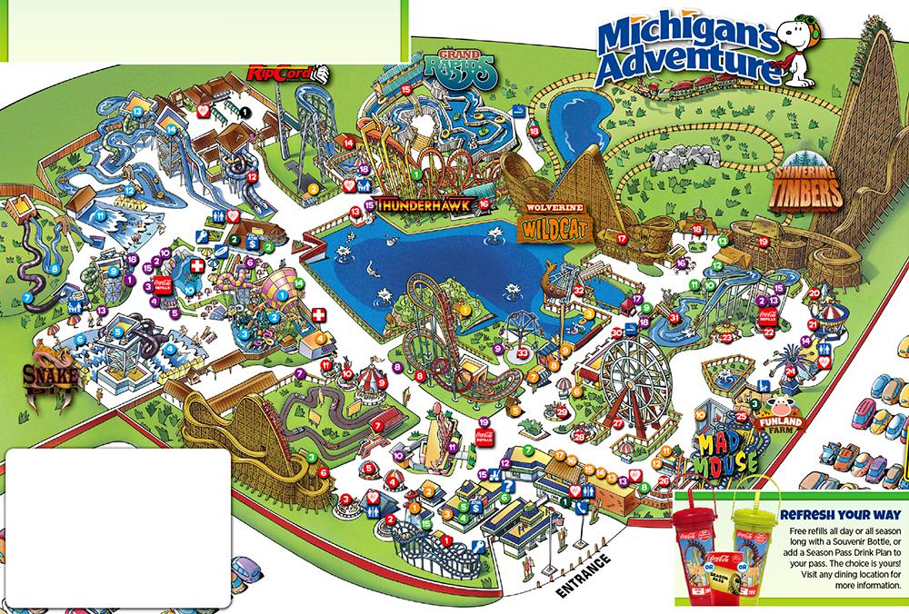 Michigan's Adventure 2017 park map.