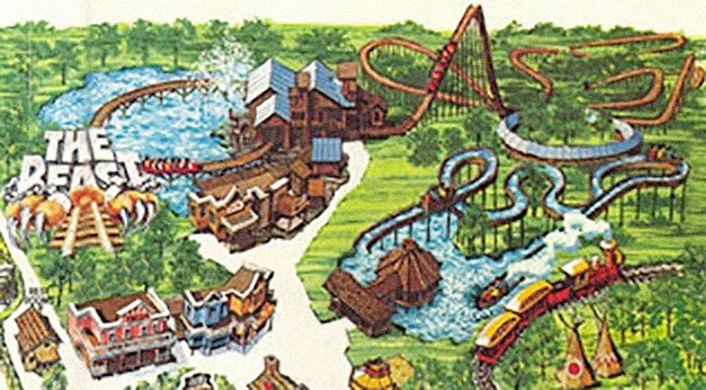 The Beast  and surrounding area on Kings Island 1979 souvenir park map poster, the ride's opening season.