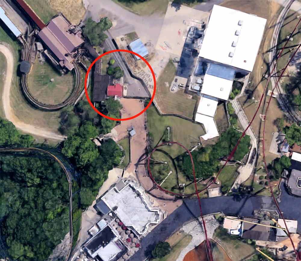 The Beast  entrance, satellite view.