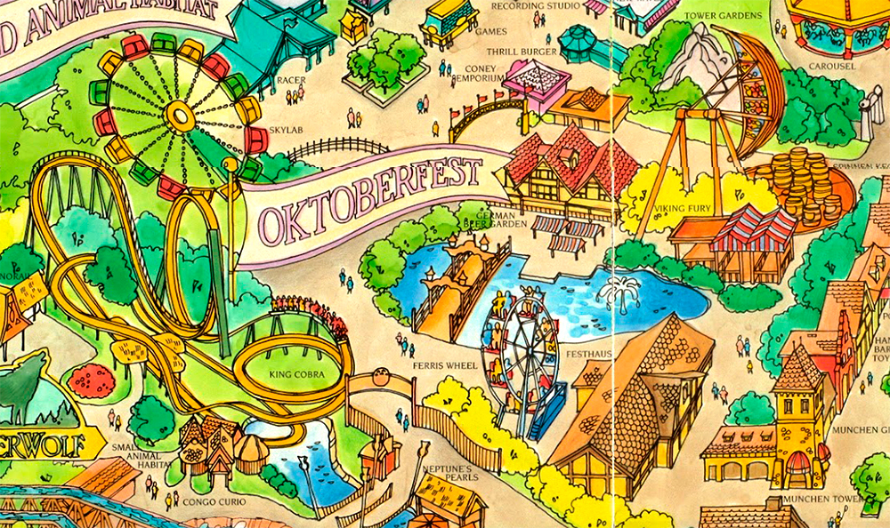 Oktoberfest  area on Kings Island 1989 souvenir park map poster.