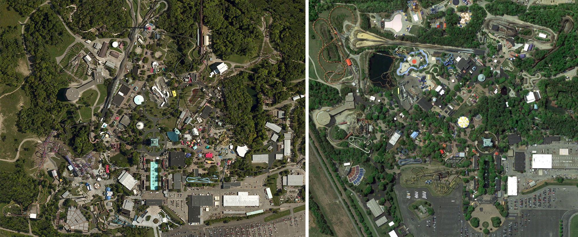 Kings Island (left) as compared with Kings Dominion (right).