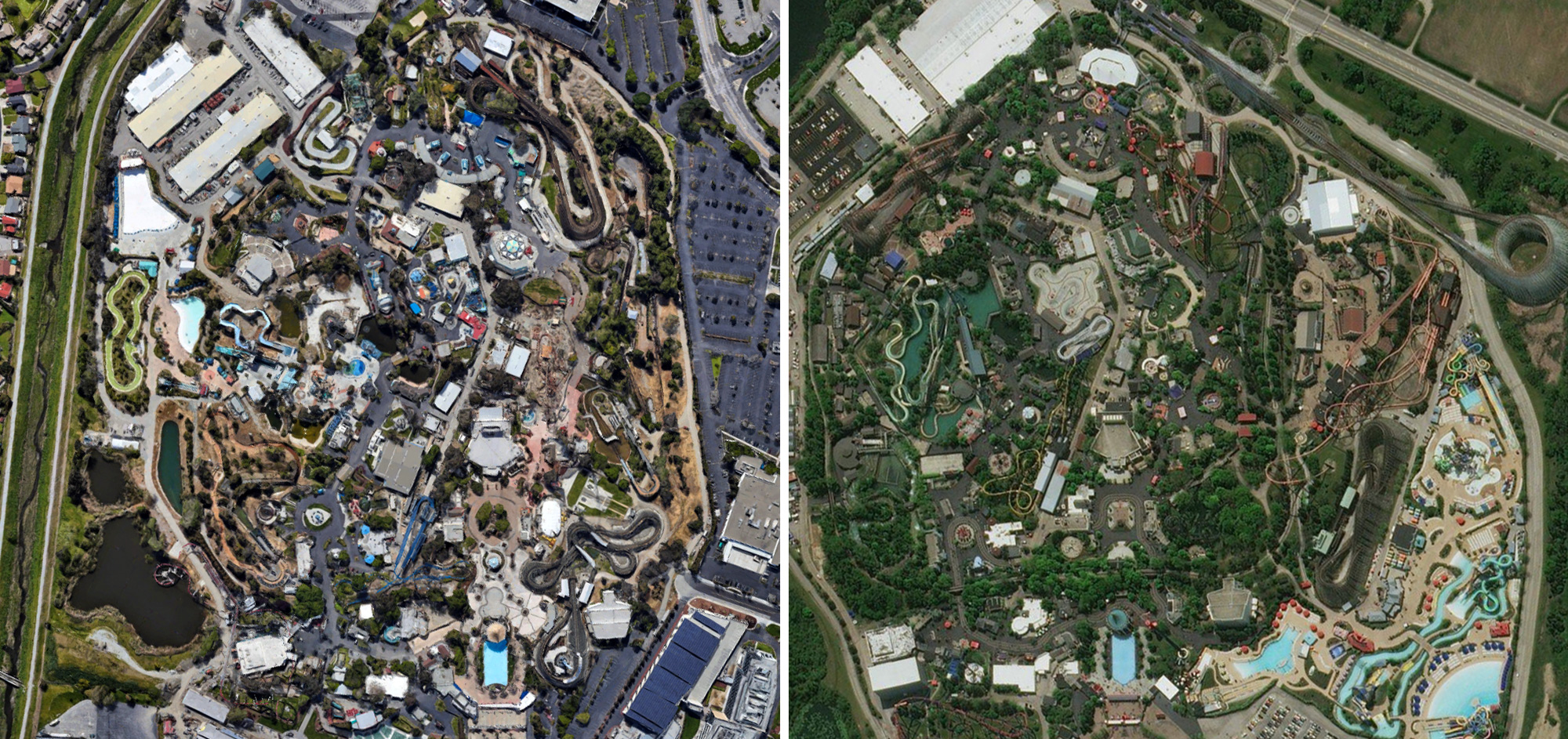 California's Great America (left) as compared with Six Flags Great America (right).