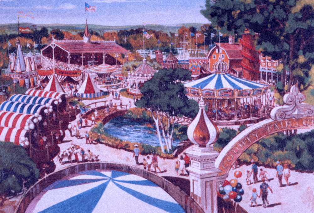 Concept painting of the County Fair area.