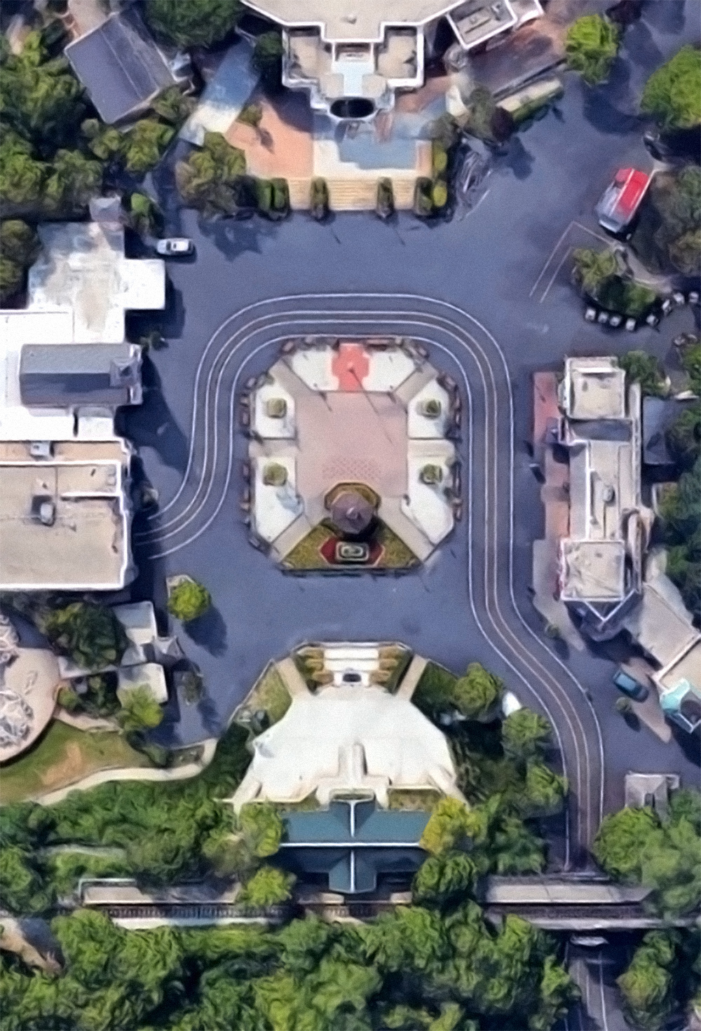 Hometown Square, satellite view.