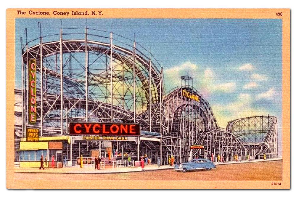 Vintage postcard, Coney Island Cyclone.