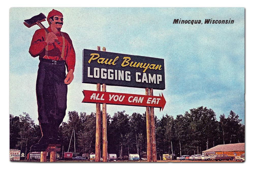 Vintage postcard, Paul Bunyan's Cook Shanty.