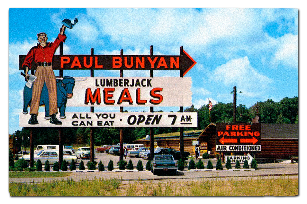 Vintage postcard, Paul Bunyan's Cook Shanty, Wisconsin Dells location.