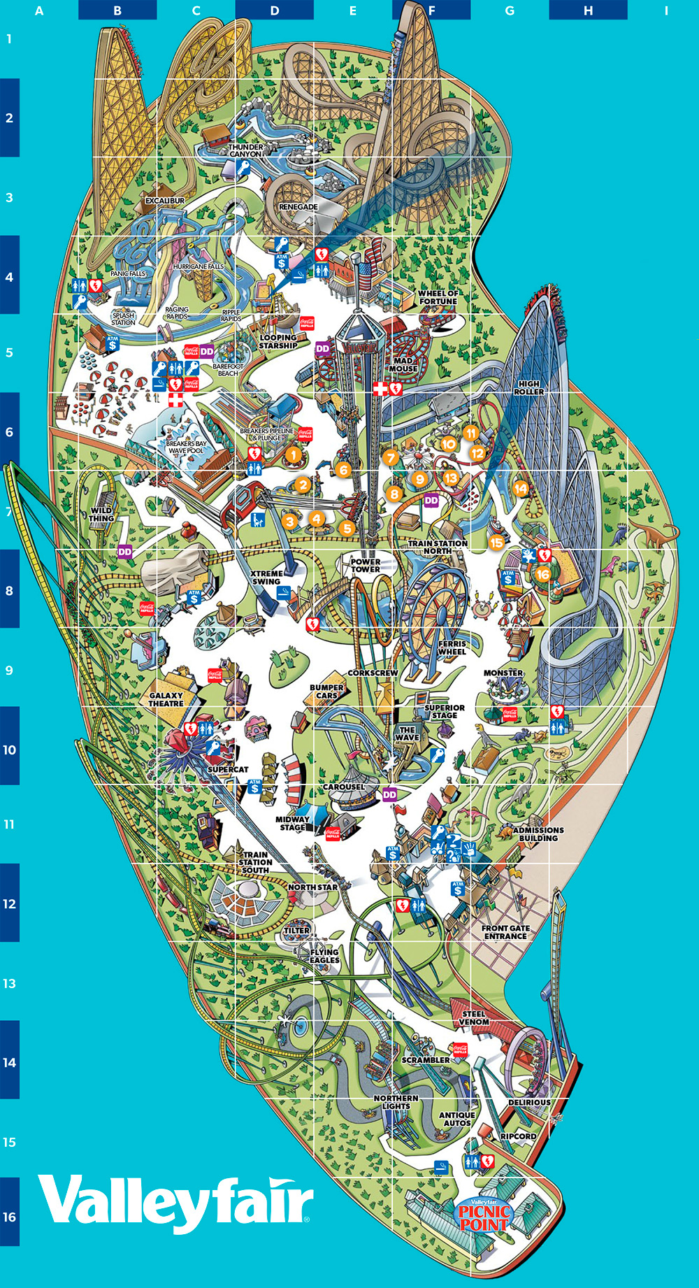Valleyfair 2017 park map.