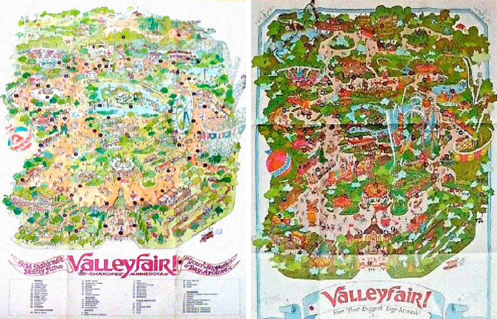 Vintage Valleyfair souvenir park map posters.