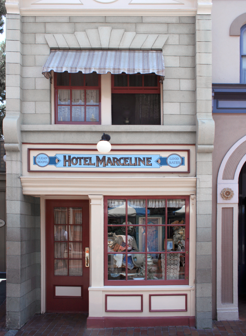 Hotel Marceline storefront at Disneyland, 2007.