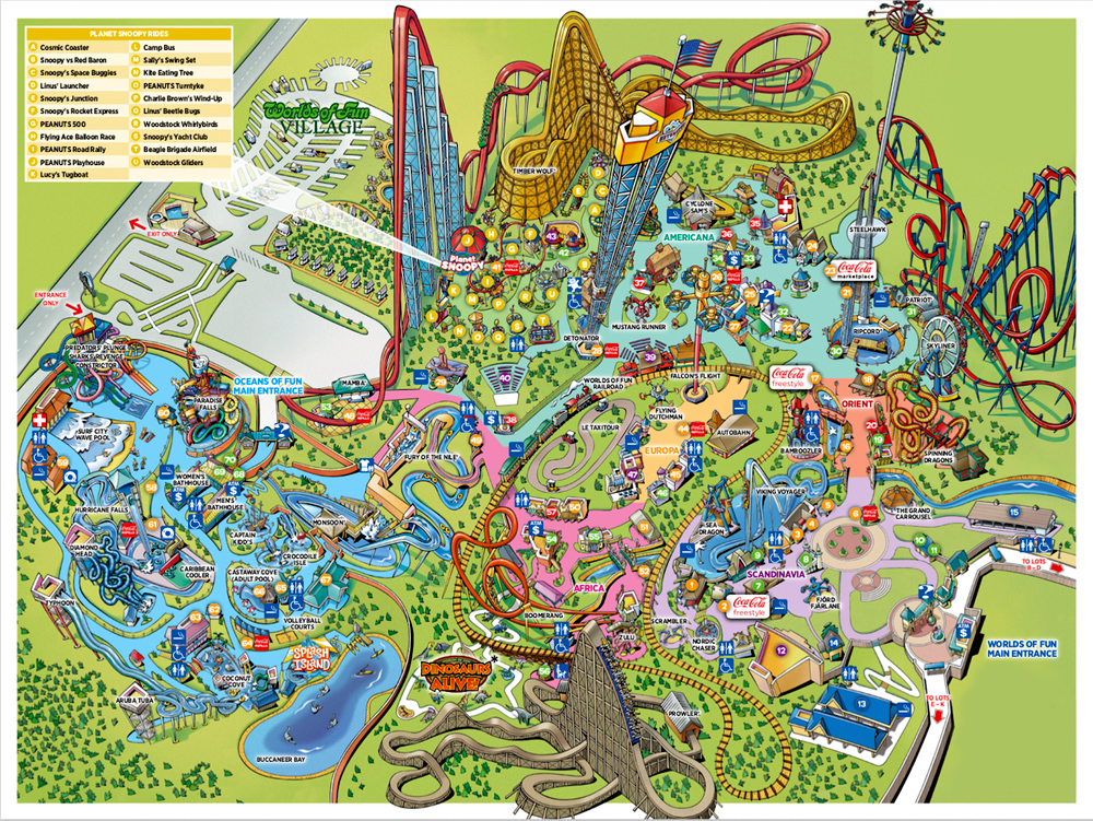 Worlds of Fun 2017 park map.