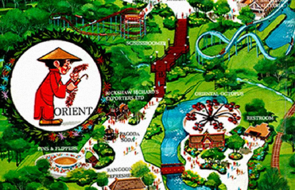 Orient  area, Worlds of Fun 1973 souvenir park map poster.