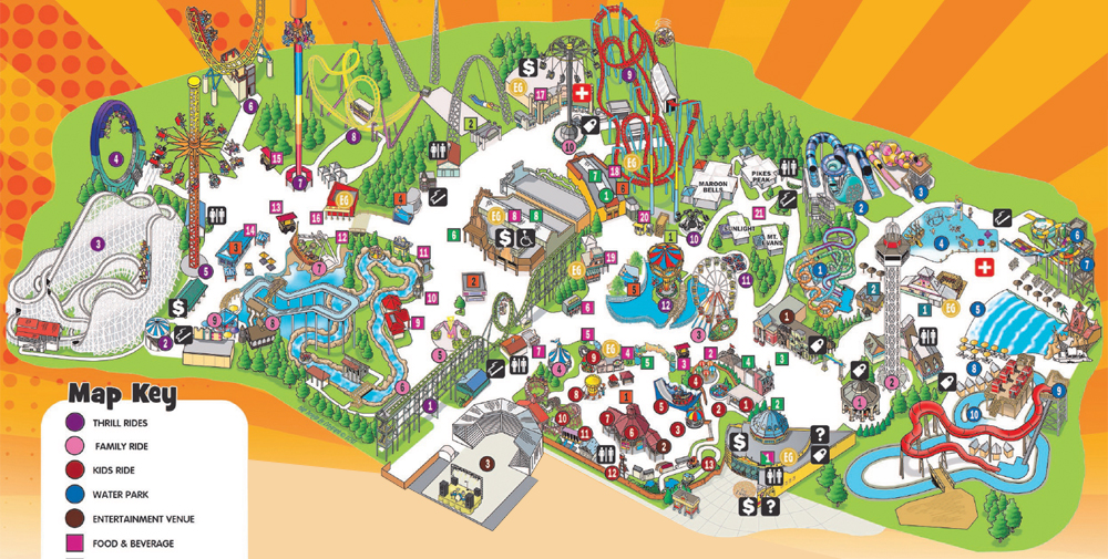 Elitch Gardens 2017 park guide map.