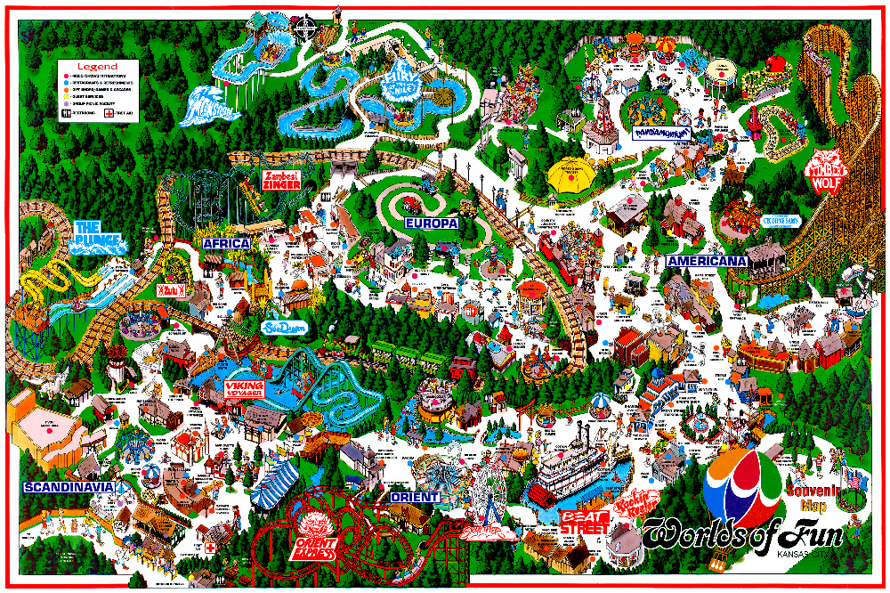 Worlds of Fun 1995 souvenir park map poster.