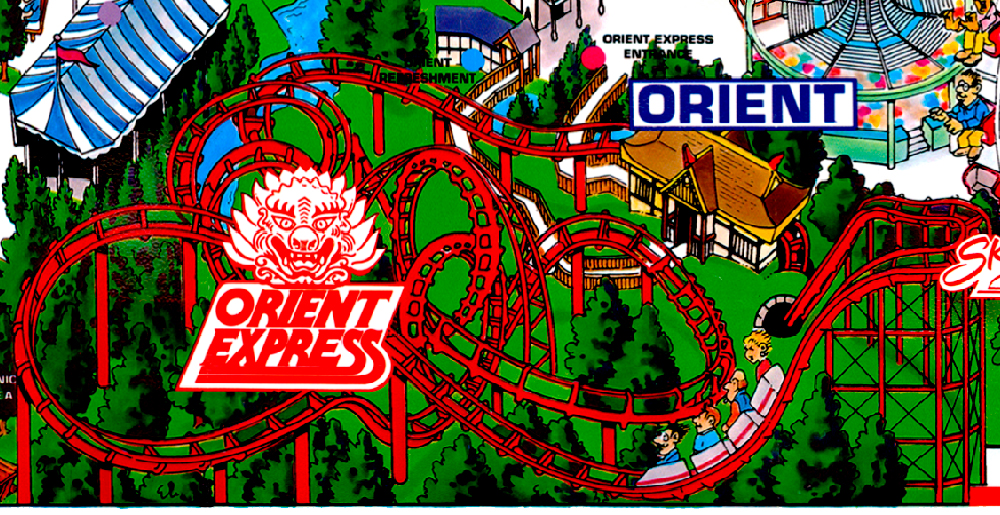 Orient Express  on Worlds of Fun 1995 souvenir park map poster.