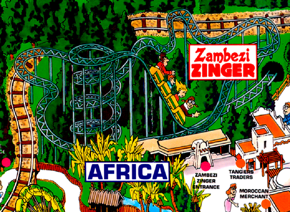 Zambezi Zinger  on Worlds of Fun 1995 souvenir park map poster.